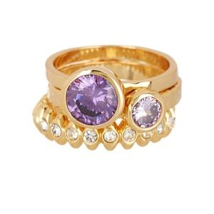 Covet purple and gold 3 ring set